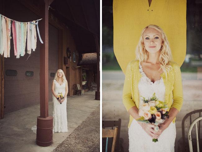 bride in yellow cardigan