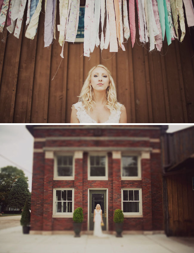 bride infront of family building