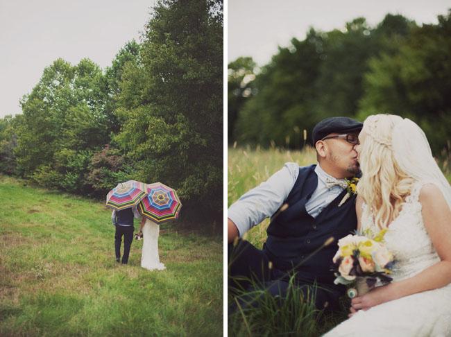 rainbow umbrellas, bride and groom