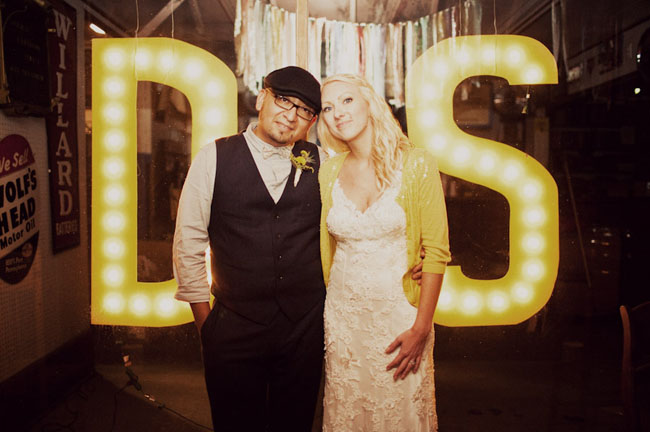 lit movie letters bride and groom