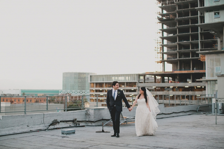 LA rooftop wedding photos