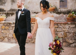 Jewel Tone Franciscan Gardens Wedding